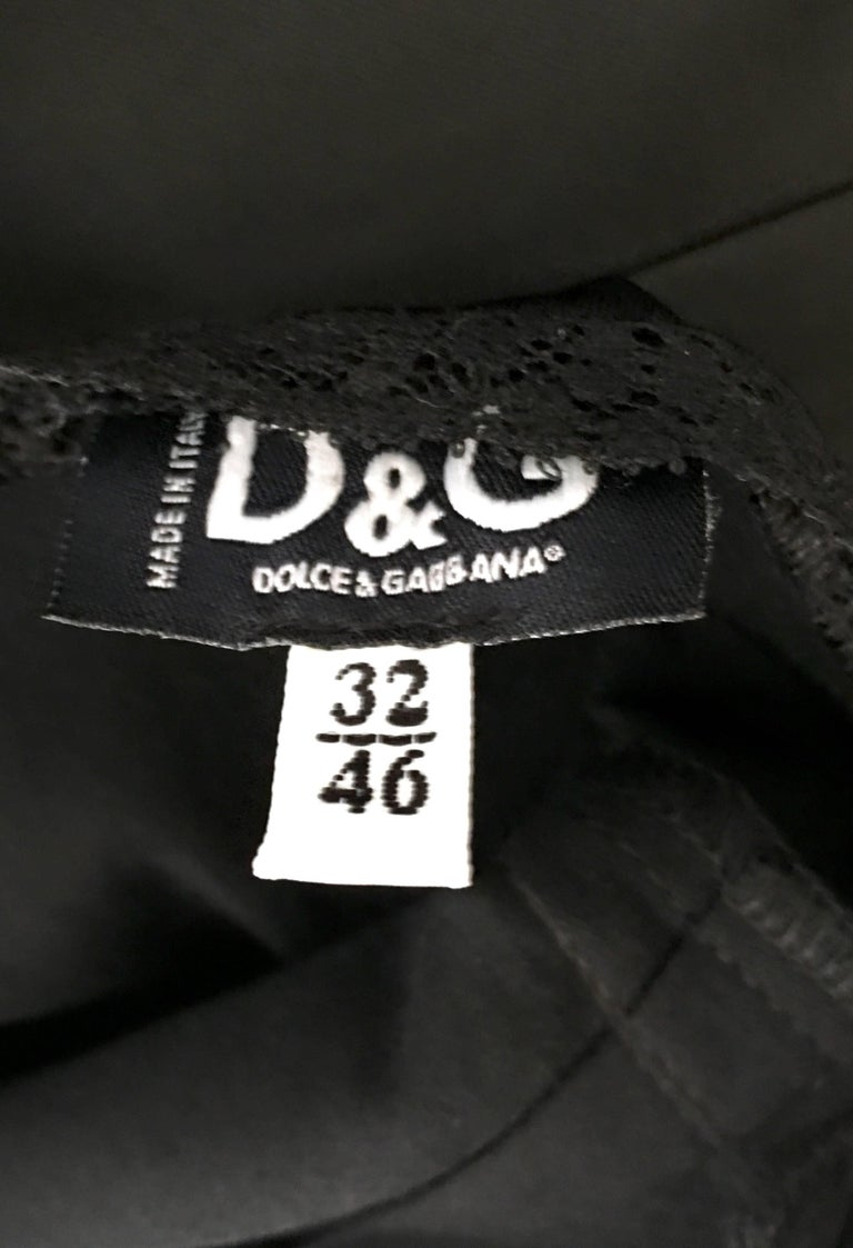90'S Classic Dolce & Gabbana Black Fitted Slip Dress Sz-40 For Sale 8