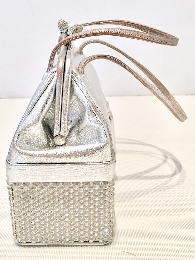 20th Century Judith Leiber Python & Swarovski Crystal Minaudiere Evening Bag In Good Condition For Sale In West Palm Beach, FL