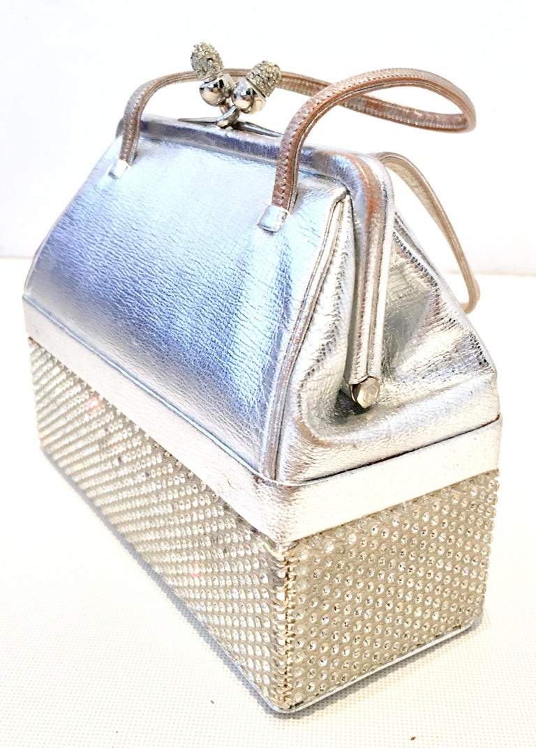 Beige 20th Century Judith Leiber Python & Swarovski Crystal Minaudiere Evening Bag For Sale