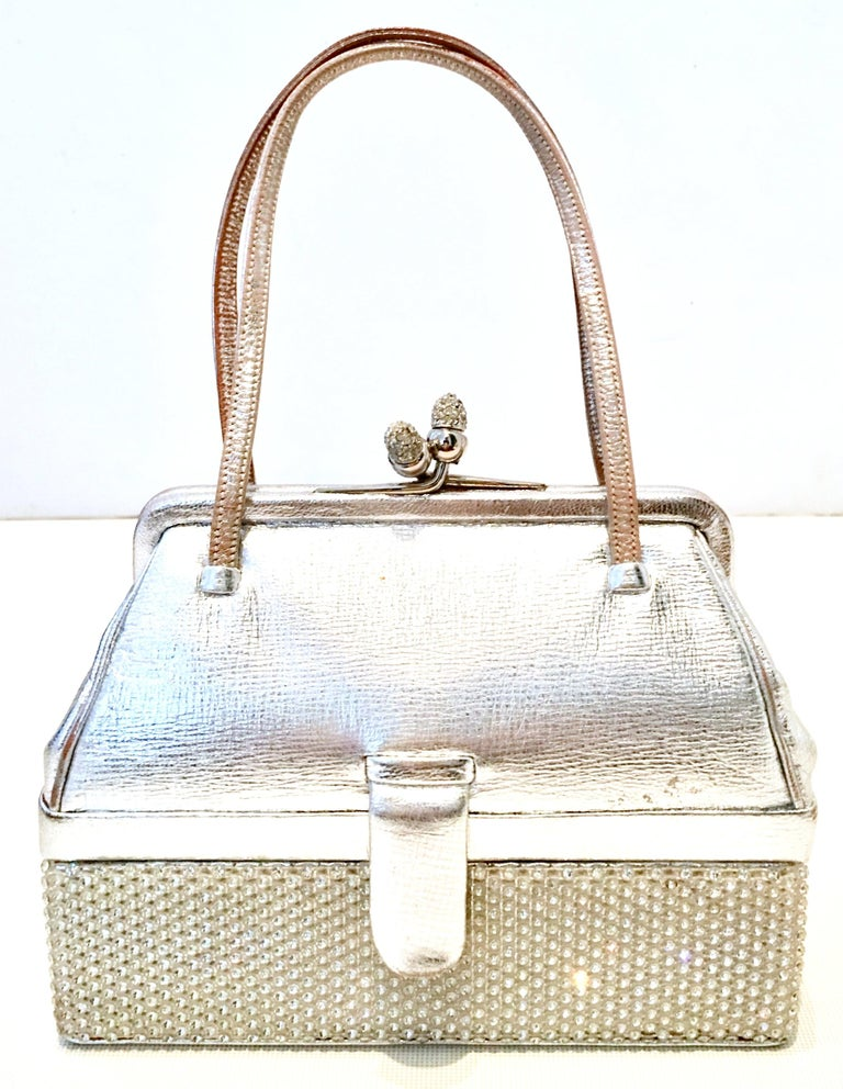 20th Century Judith Leiber Silver Metallic Python & Clear Swarovski Crystal Minaudiere evening bag. Features a Double compartment, two tier
