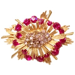 VIntage Gold & Pink Sapphite Austrian Crystal Starburst Brooch