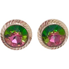 "Mid-Century Pair Of Silver & Crystal ""Watermelon"" Cuff Links By, Dante"