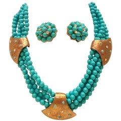60er Jahre Stil, Haskell Türkis Perlen, Swarovski-Kristall Halskette & Ohrringe S/3