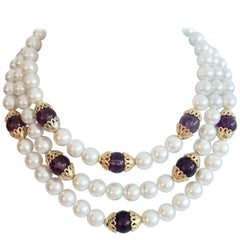 90'S Gold & Faux Pearl, Glass Bead Triple Strand Necklace By, Napier