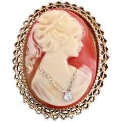 Antique 14K Gold Shell Platinum & Diamond Cameo Brooch