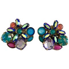 21st Century Swarovski Crystal Rhinestone Flower Stud Earrings By, Sorrelli