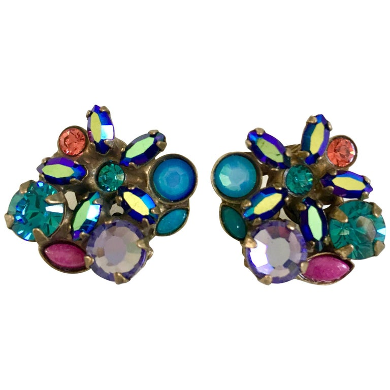 21st Century Swarovski Crystal Rhinestone Flower Stud Earrings By ... c24477bbe