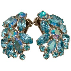 1960'S Silver & Sapphire Blue Swarovski Crystal Earrings By, Weiss