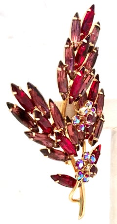 60'S Gold & Austrian Crystal Large Dimensional Floral Brooch