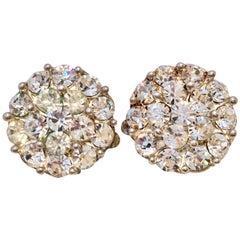 20th Century Sterling Silver & Austrian Crystal Rhinestone Earrings