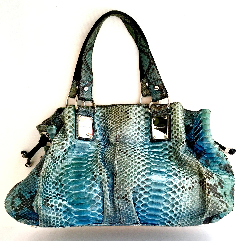 7313e68aa6d058 21st Century Michael Kors Blue Python Leather and Chrome