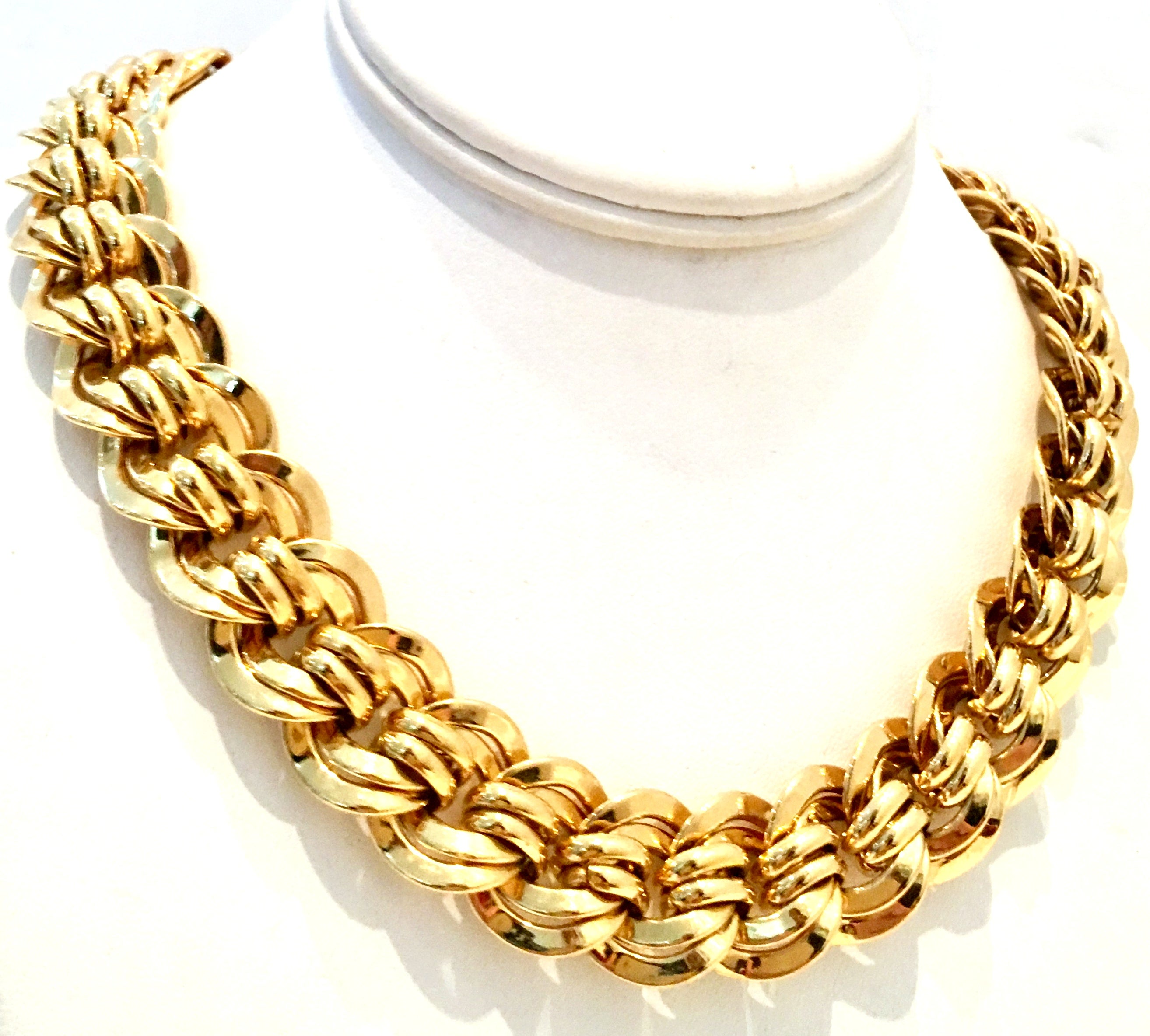Italian Gold Chain >> 20th Century Italian Gold Plate Chain Link Choker Style Necklace By Napier