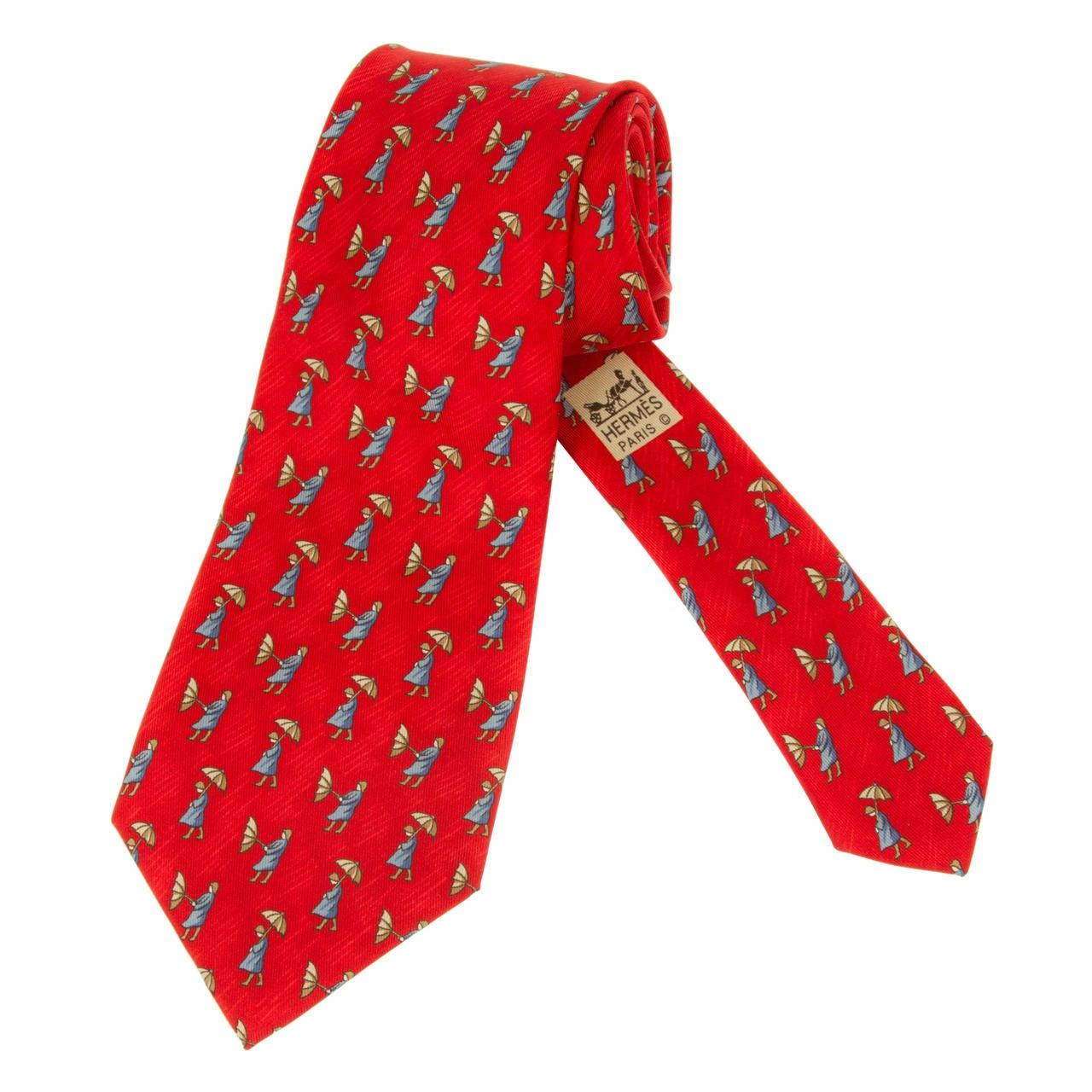 vintage hermes silk tie with umbrellas at 1stdibs