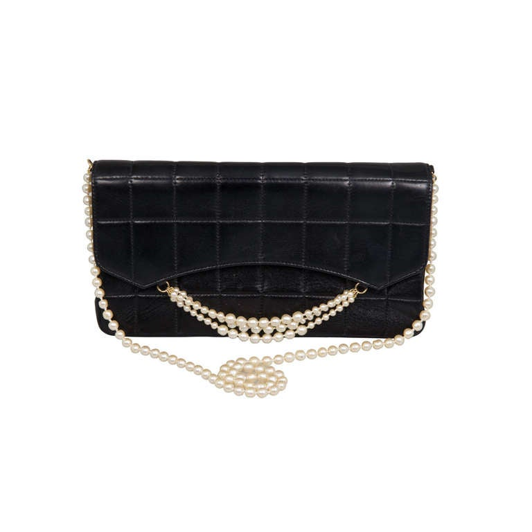 Chanel Quilted Lambskin Handbag With Pearl Strap At 1stdibs