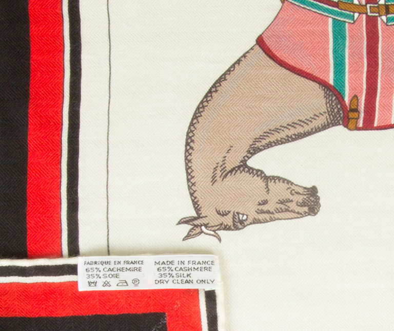 Large HERMES Cashmere and Silk Scarf with Horse Motif at ...