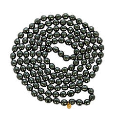 CHANEL Long Black Pearl Necklace