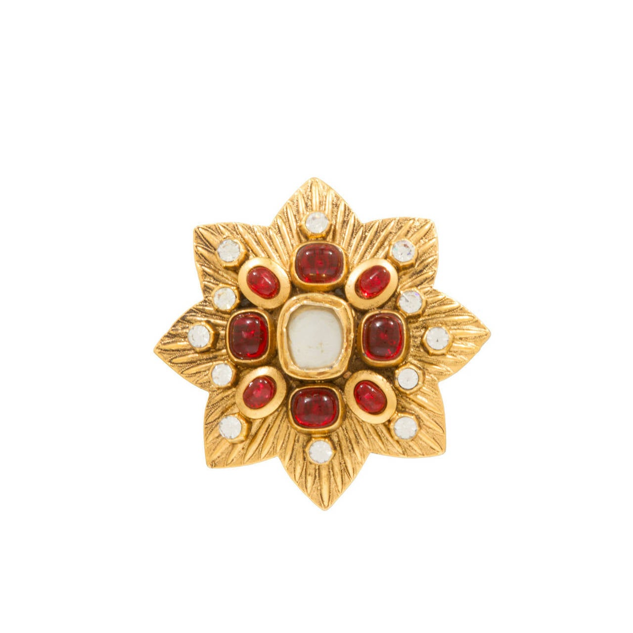 Large CHANEL Maltese Brooch with Gripoix Glass and Faceted