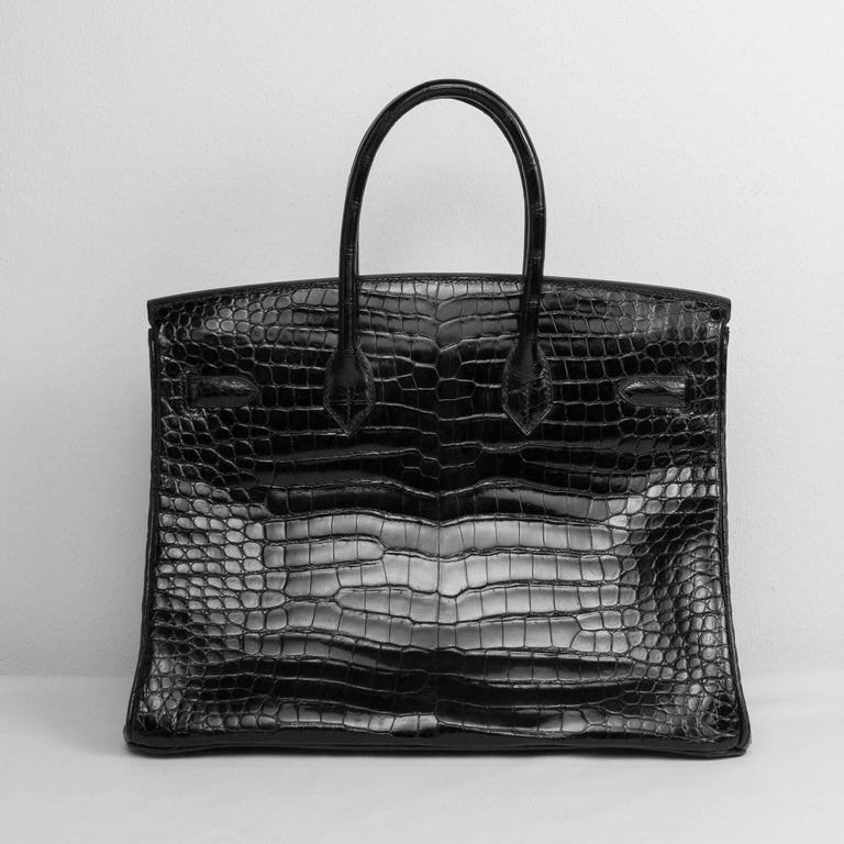 2008 Hermès Black Crocodile Birkin Bag   In Excellent Condition For Sale In Bologna, IT