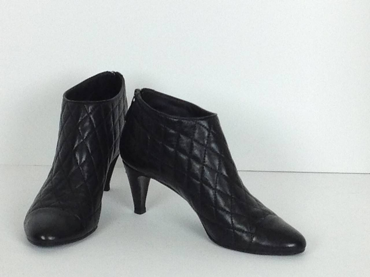 this season chanel quilted ankle boots size 39 at 1stdibs