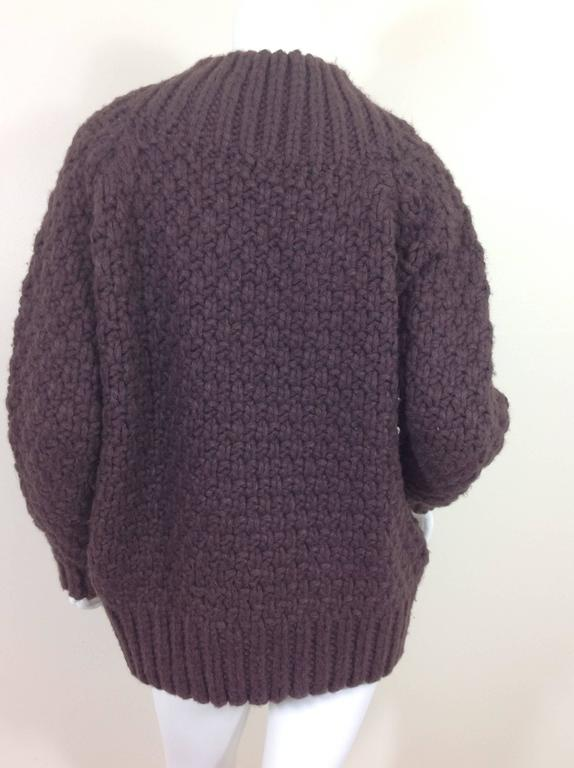 Aubergine cashmere basket weave The Row sweater    Size S 3