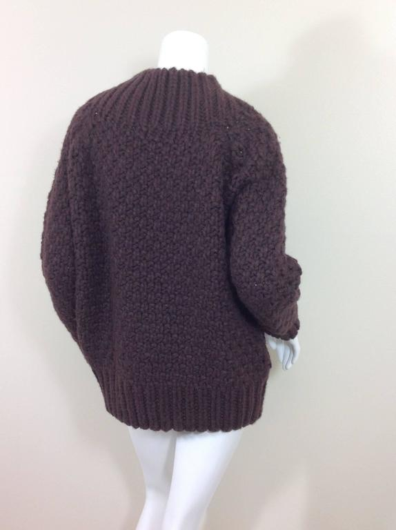 Aubergine cashmere basket weave The Row sweater    Size S 6