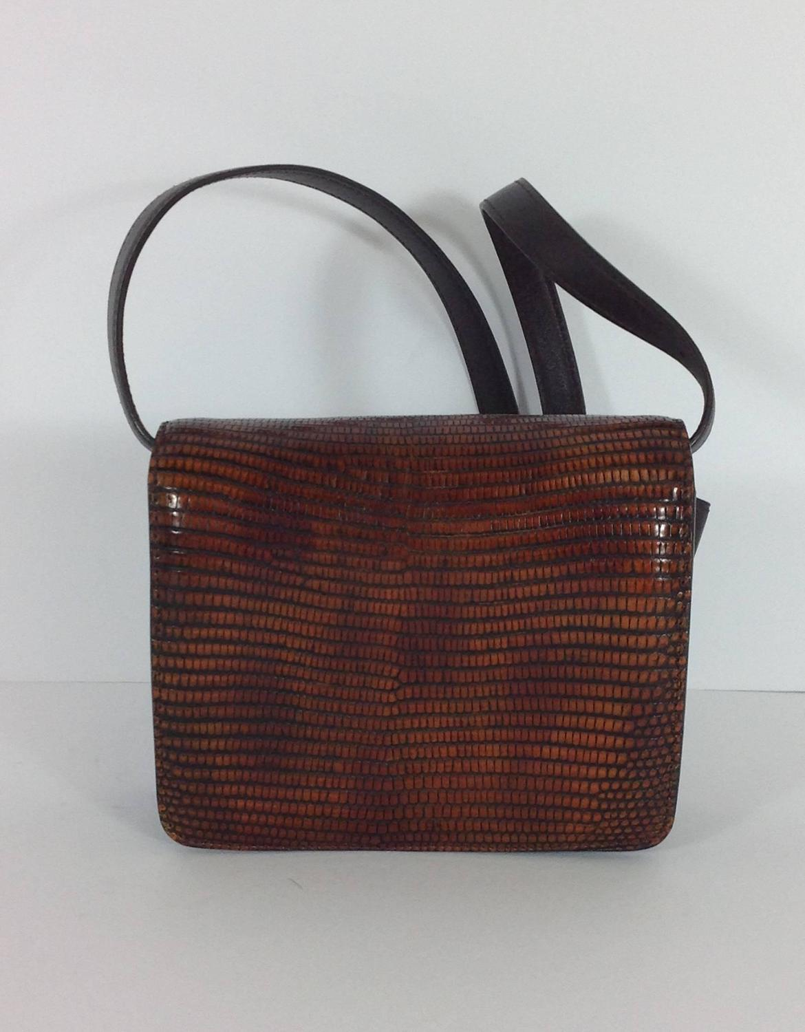 Lizard and leather Celine box bag For Sale at 1stdibs