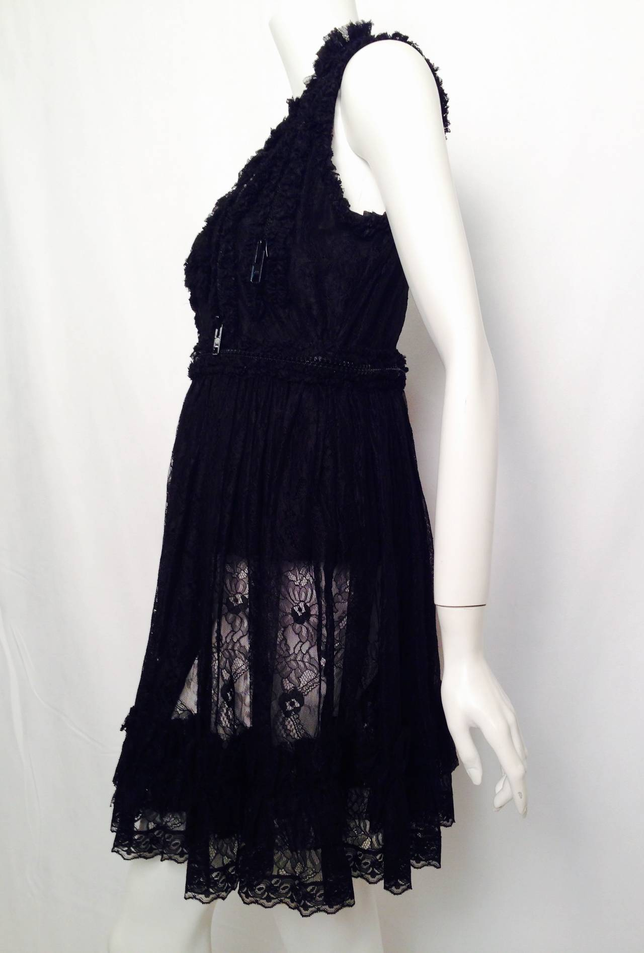 Givenchy Sleeveless Black Lace Baby Doll Dress With