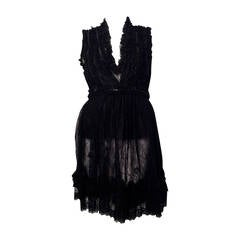 Givenchy Sleeveless Black Lace Baby Doll Dress With Zippers