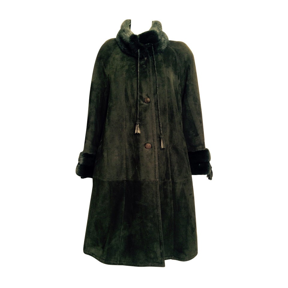 Luxurious Loden Green Shearling Swing Coat With Mink ...