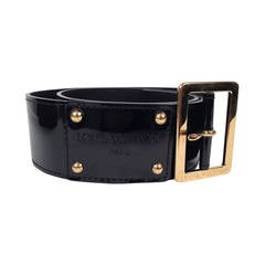 Louis Vuitton Black Patent Leather Belt