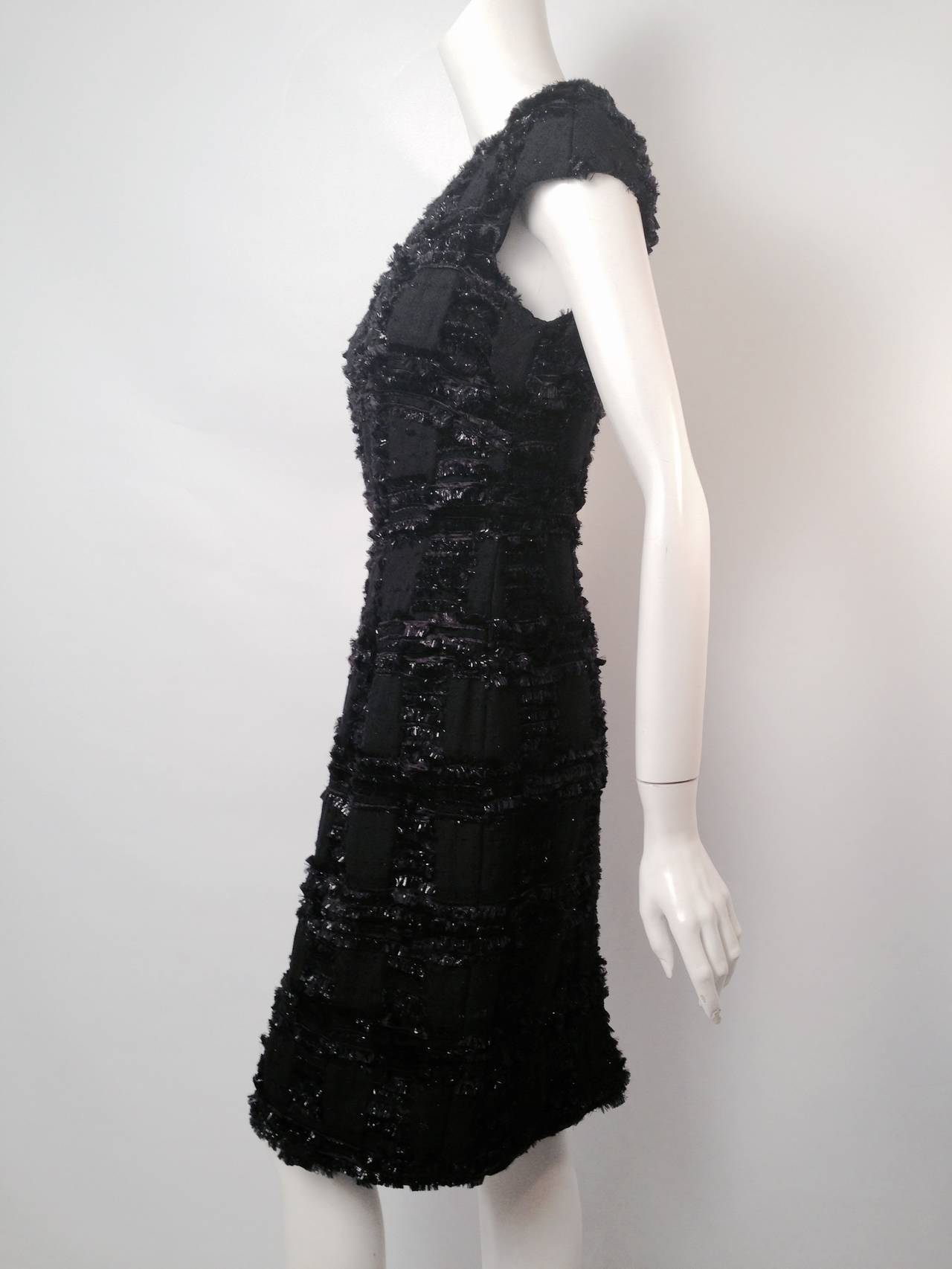 Chanel 1999 Spring Black Wool Sheath Dress With Nylon Fringe 3