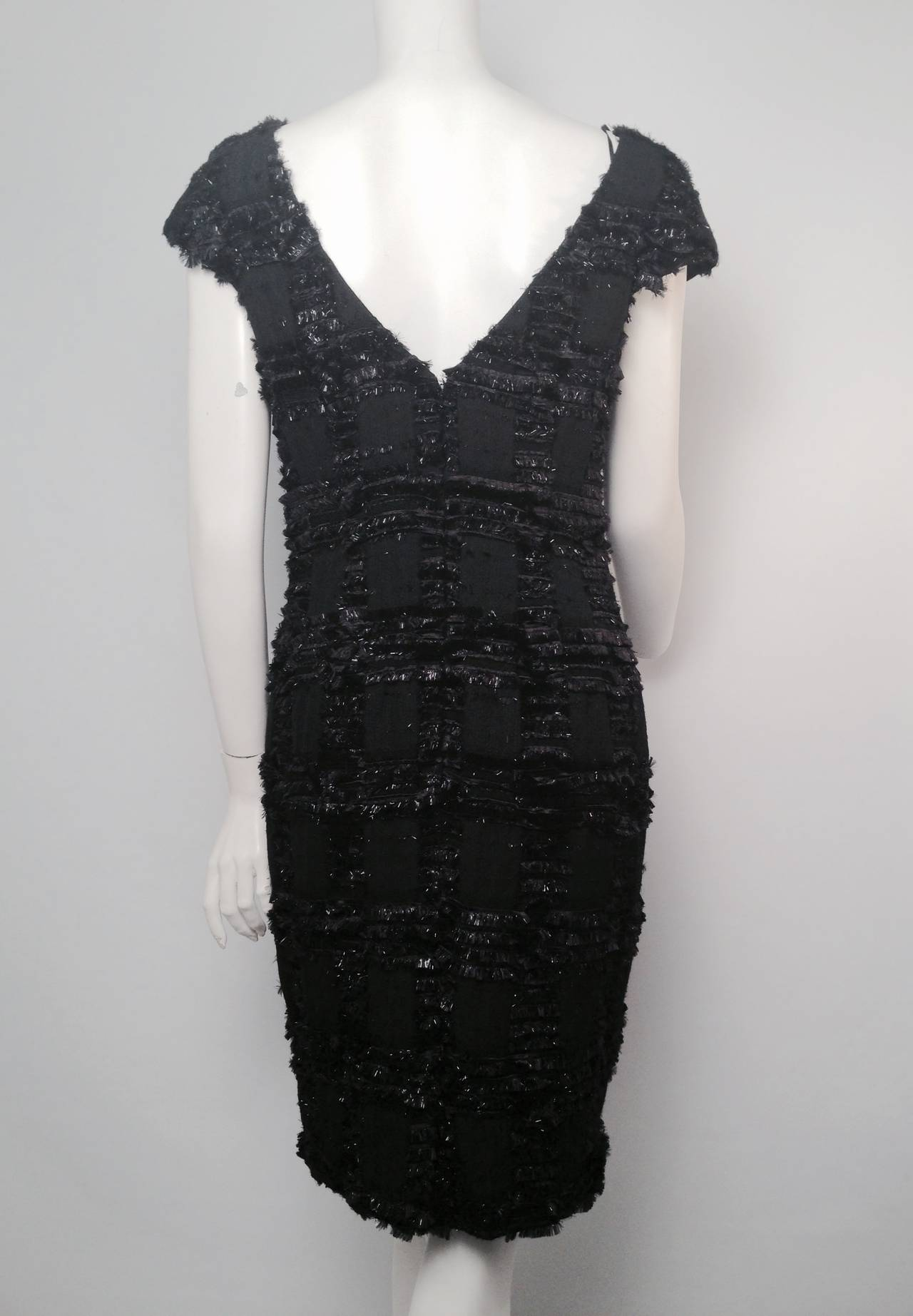 Chanel 1999 Spring Black Wool Sheath Dress With Nylon Fringe 2