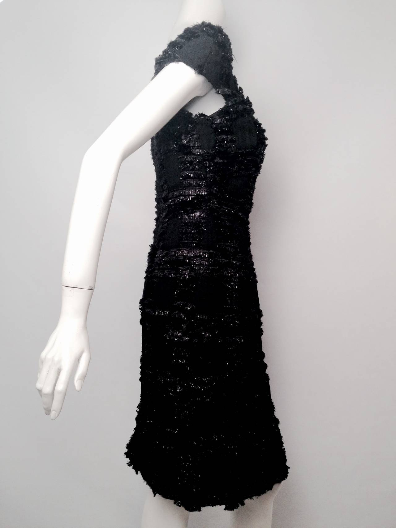 Chanel 1999 Spring Black Wool Sheath Dress With Nylon Fringe 4