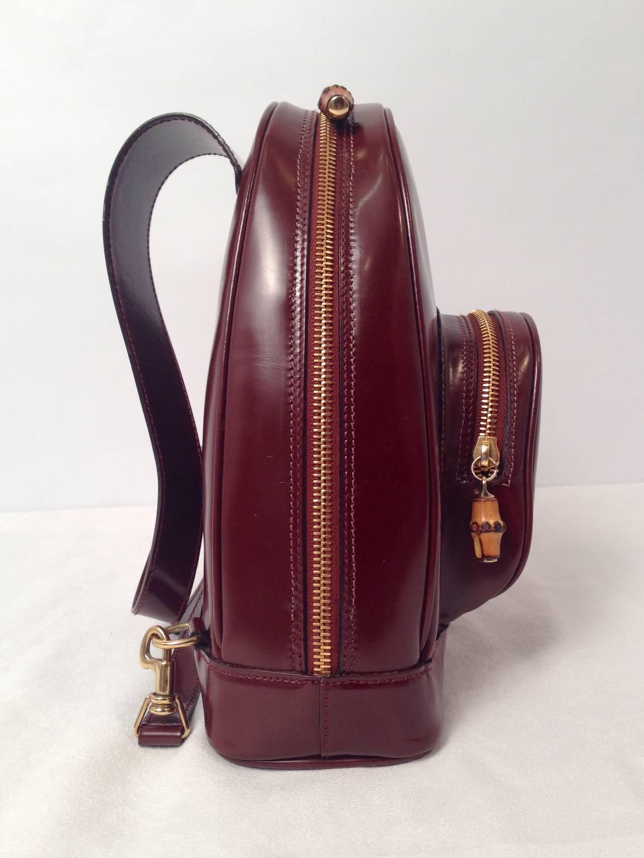 Gucci Brown Patent Leather Backpack With Bamboo Pendants 5