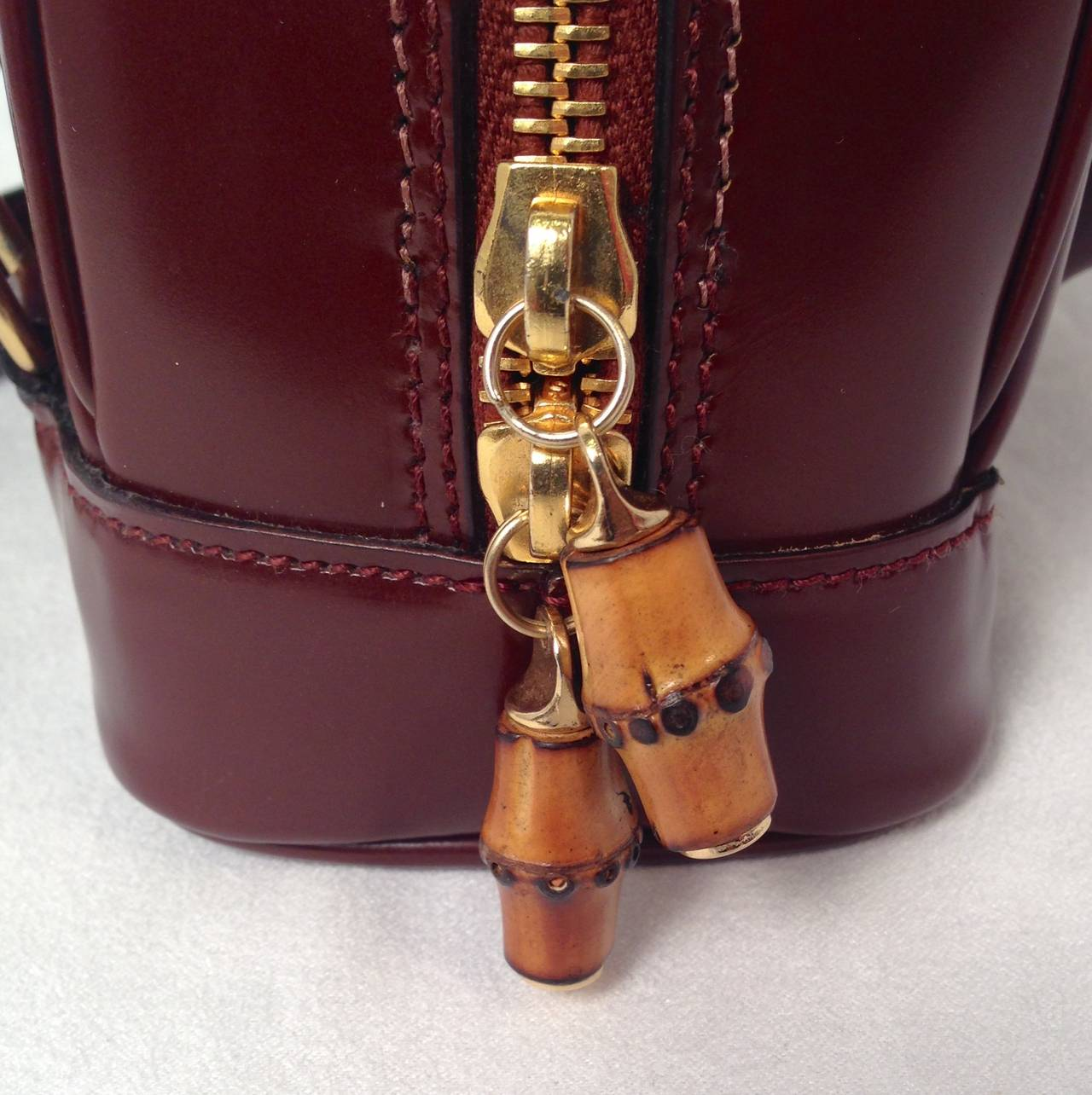 Gucci Brown Patent Leather Backpack With Bamboo Pendants 7