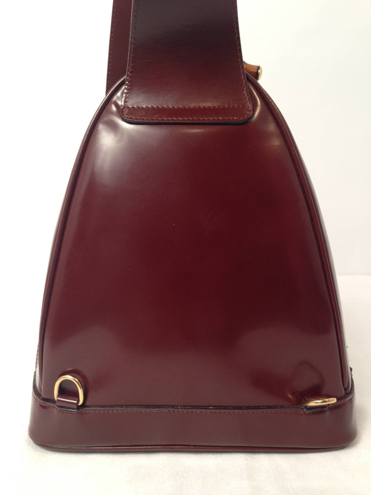 Gucci Brown Patent Leather Backpack With Bamboo Pendants 2