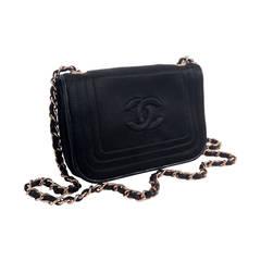 Vintage 1980s Chanel Black Satin Evening Shoulder Bag