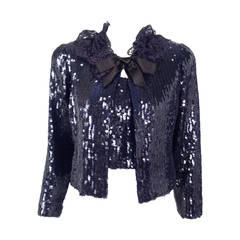 Vintage Chanel Navy Sequin Twin-Set With Lace Collar