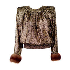 "Valentino ""Night"" Gold Lame Blouse With Mink Cuffs"