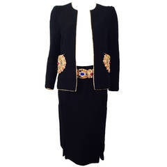 Vintage Adolfo Bejeweled Wool Boucle Skirt Suit