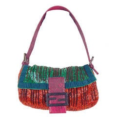 Fendi Mixed-Media Beaded Baguette Bag