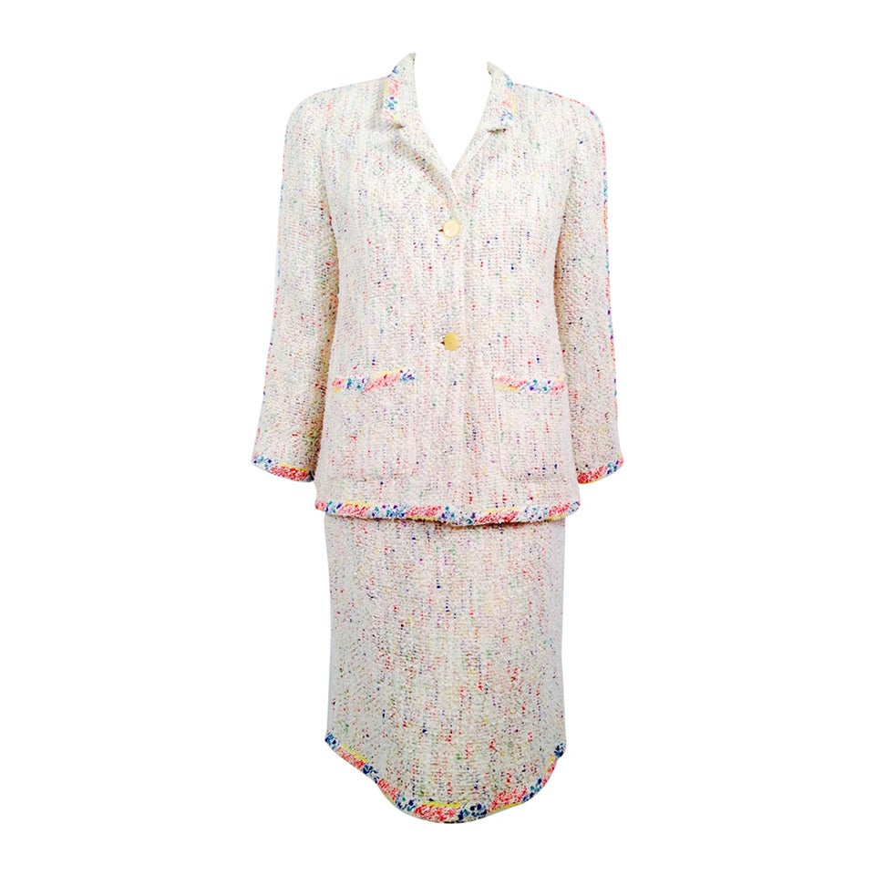 "Chanel Spring 1999 White Skirt Suit With ""Paint Spatter"" Trim 1"
