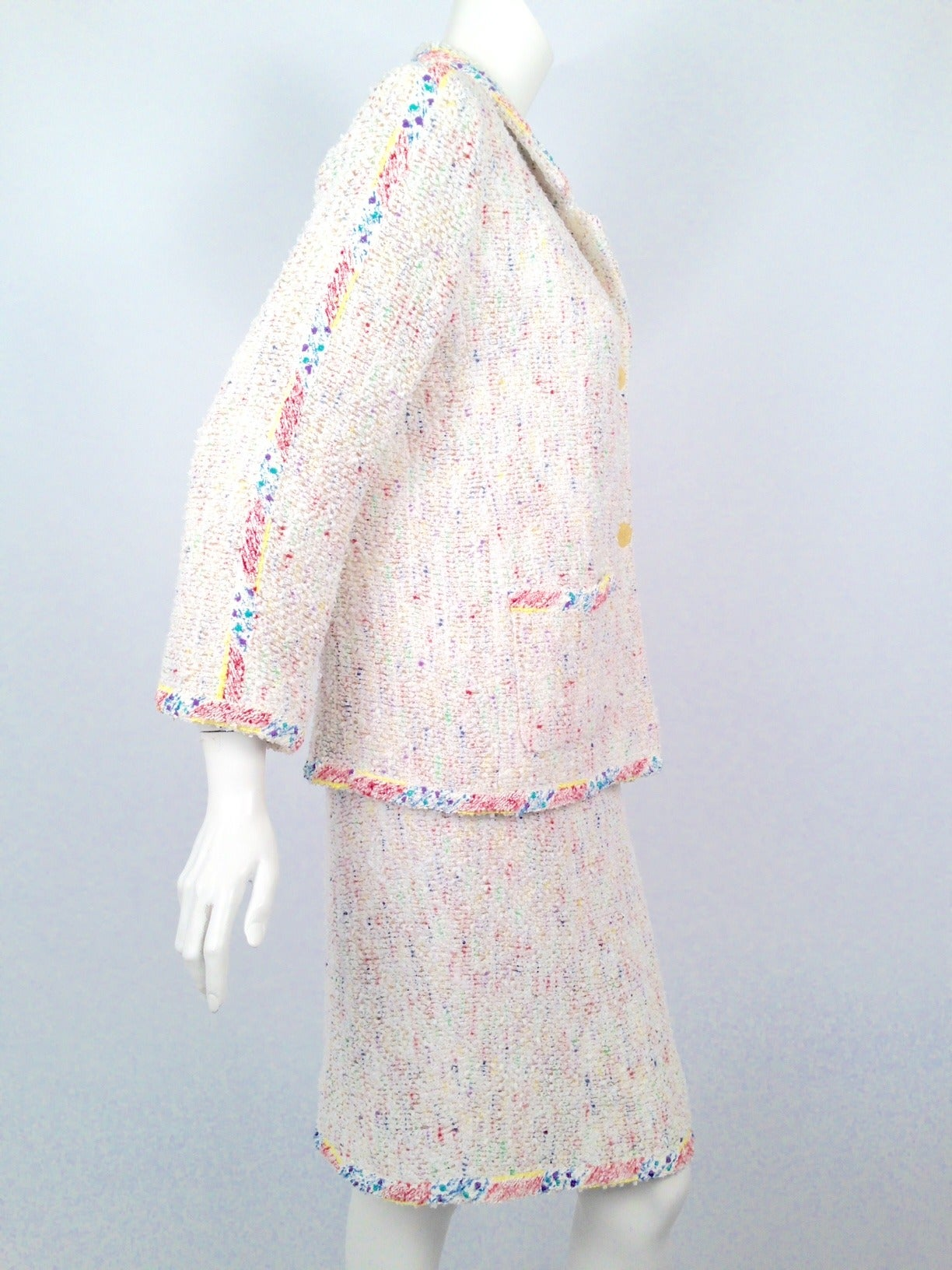 "Chanel Spring 1999 White Skirt Suit With ""Paint Spatter"" Trim 3"