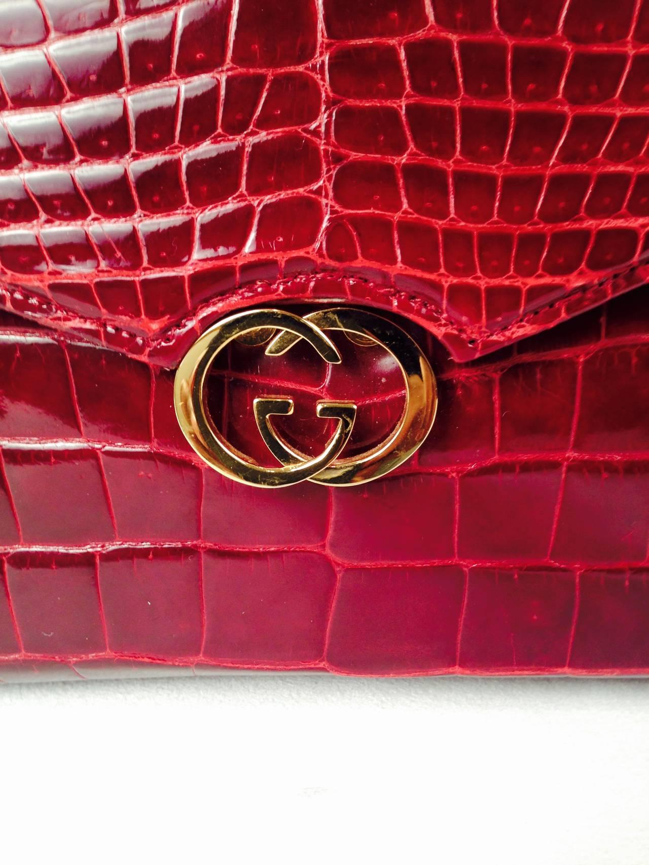 Red Gucci Burgundy Vintage Crocodile Handbag For Sale