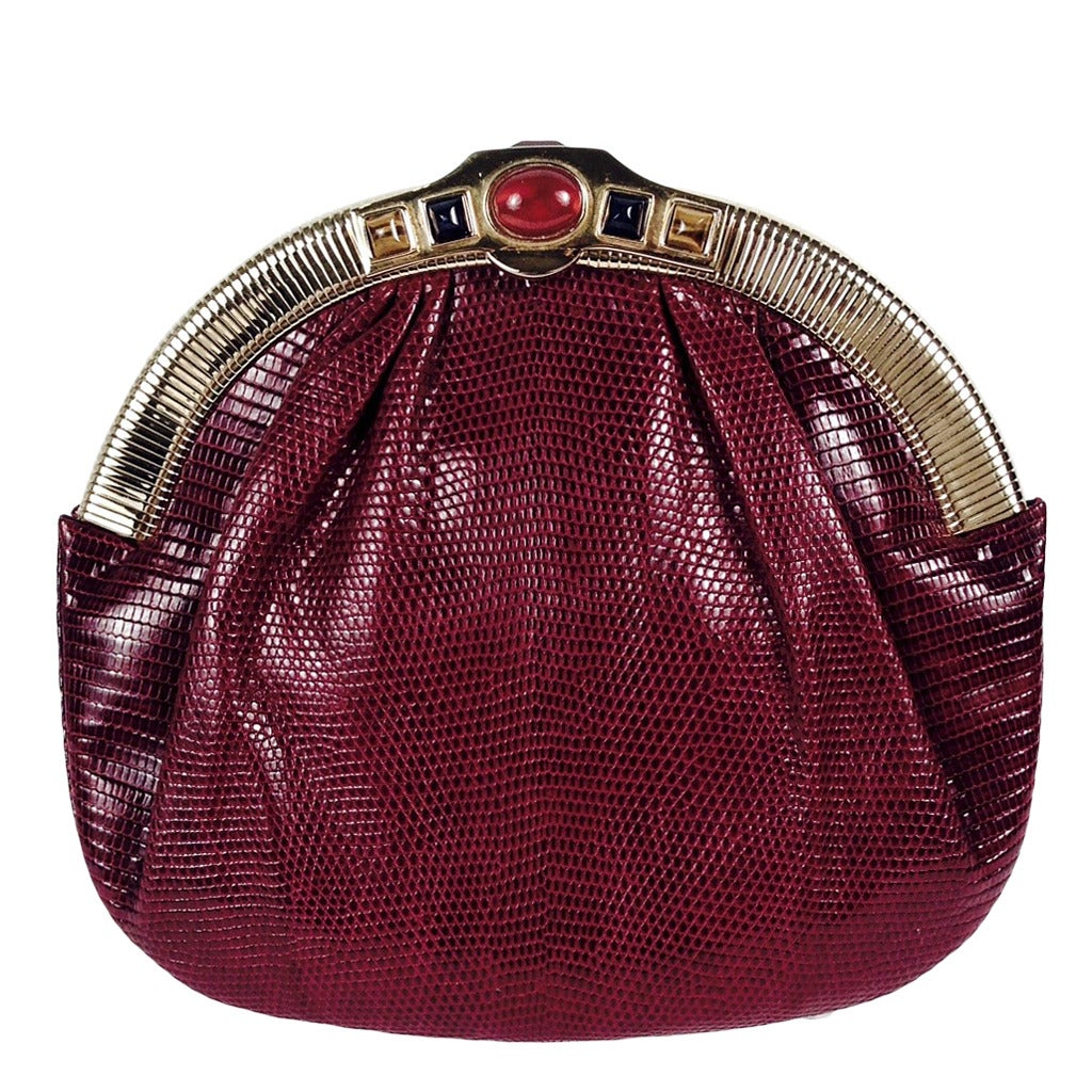 Vintage Judith Leiber Burgundy Lizard Evening Bag With Jeweled ...
