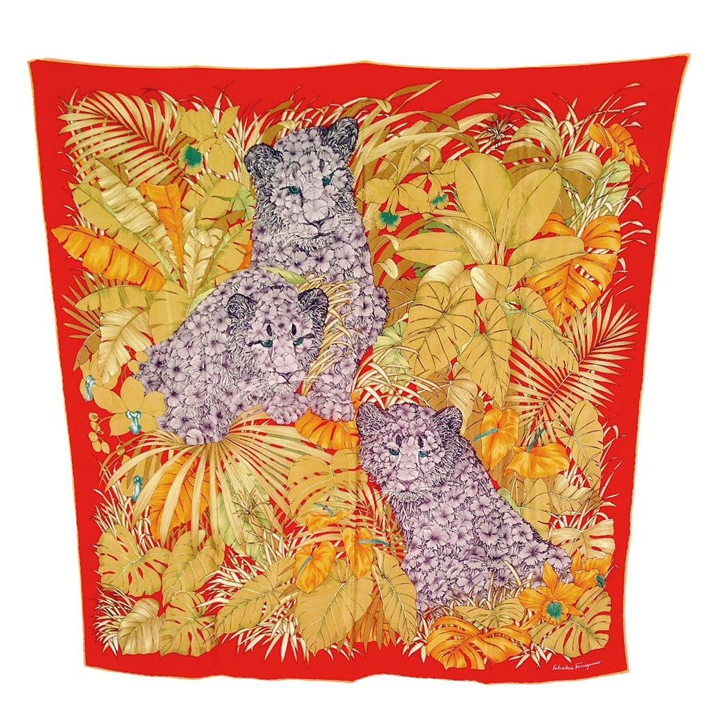 Salvatore Ferragamo Jungle Floral Leopard 100 Silk Scarf