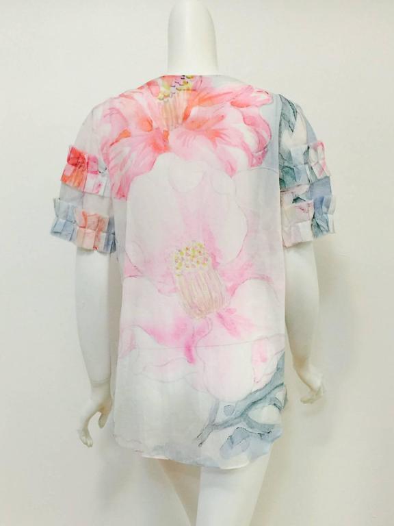 Beige Chanel Spring 100% Cotton Impressionist Floral Print Short Sleeve Blouse  For Sale