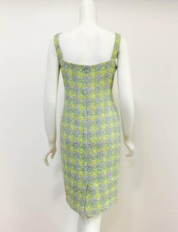 New Chanel Spring 2014 Sleeveless Plaid Boucle Sheath Dress 3