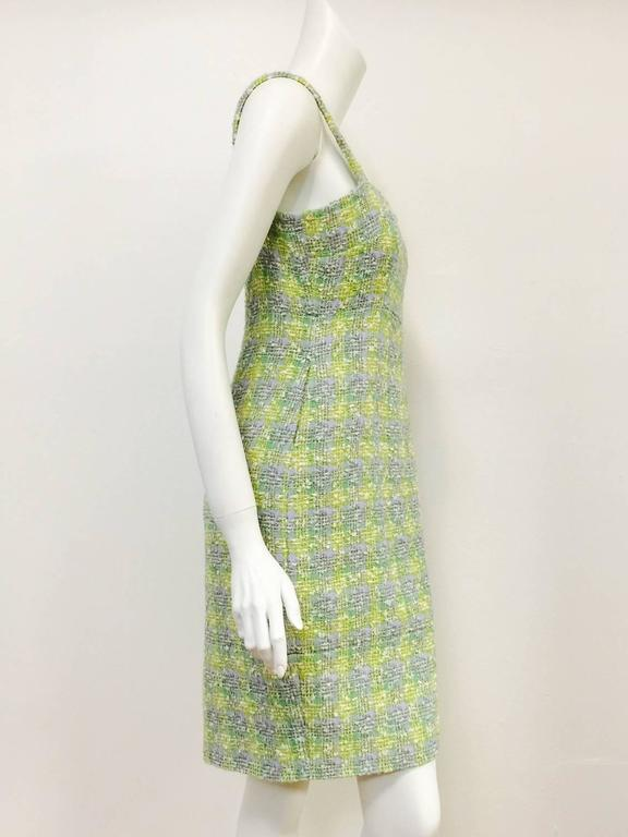 New Chanel Spring 2014 Sleeveless Plaid Boucle Sheath Dress 2