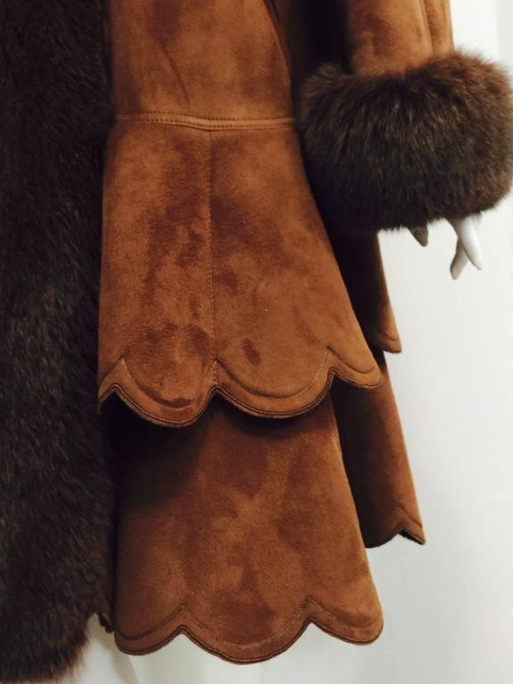 Christia Cognac Shearling Swing Coat With Fox Trim and Scalloped Tiered Hem 6